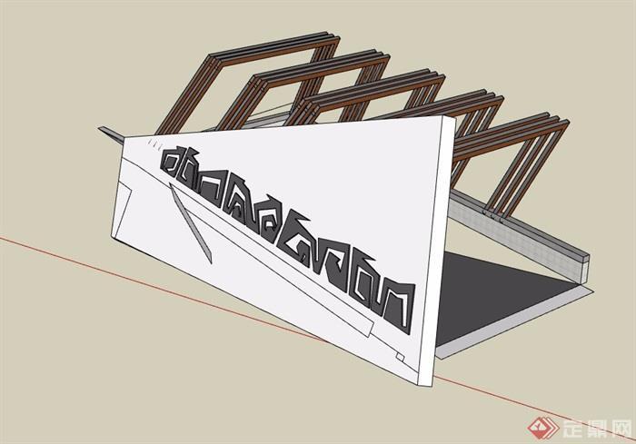 独特车库入口廊架详细设计su模型