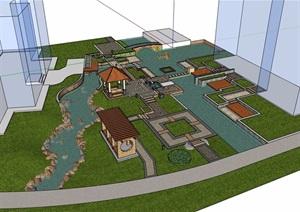 简单住宅小区庭院花园SU(草图大师)模型