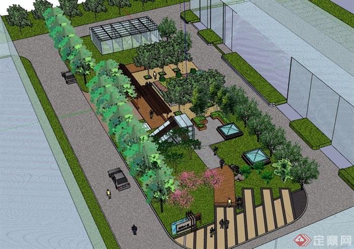 某现代风格住宅小区中庭景观详细su模型[原创]