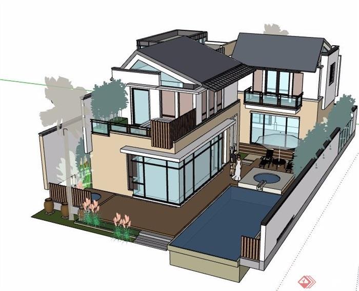 某新中式风格庭院别墅设计su模型