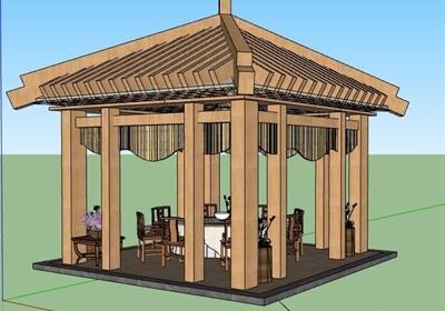 中式风格凉亭及餐桌椅组合su模型
