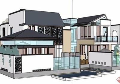 精品新中式独栋别墅建筑设计su模型