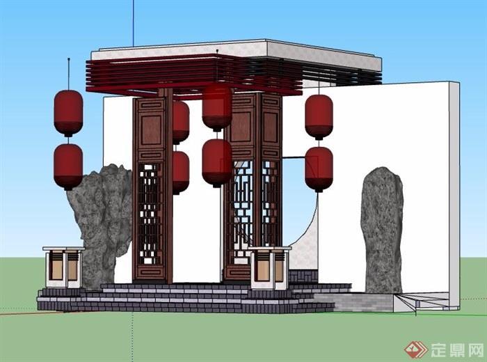 中式风格入口大门素材设计su模型