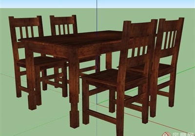 中式木制四人座餐桌椅su模型