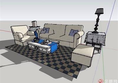 清新系沙发茶几设计su模型