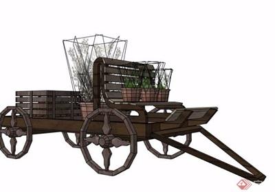 木制拉车花车设计su模型