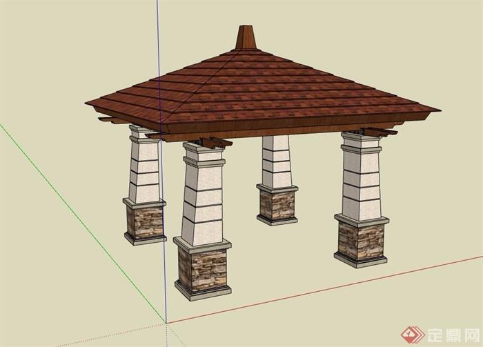 欧式详细的景观亭设计su模型[原创]