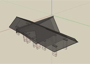 详细中式廊亭设计SU(草图大师)模型