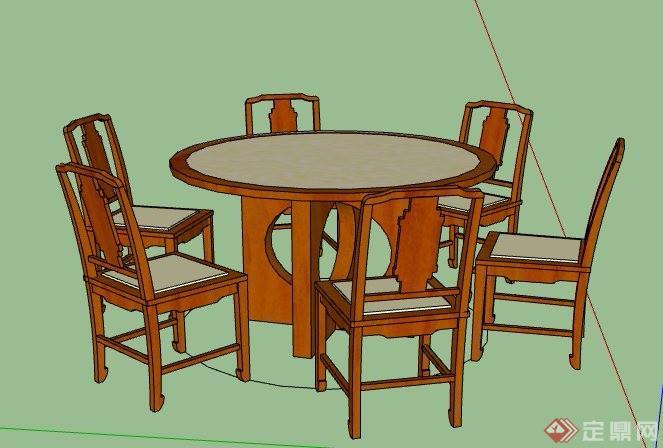 中式6人座圆形餐桌椅组合素材su模型