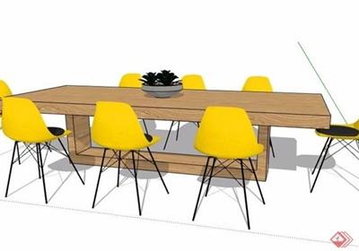 简约风会议桌椅设计su模型