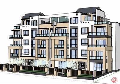 新中式风格5层住宅楼建筑设计su模型