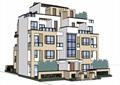 现代双拼五层住宅楼建筑设计su模型