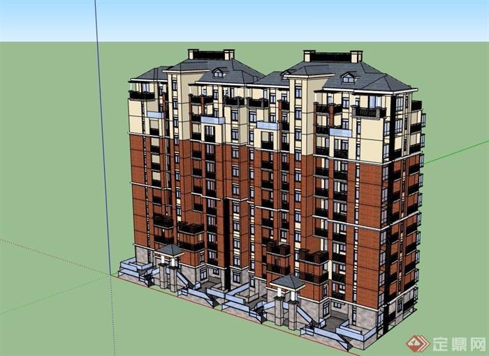欧式风格详细的小区住宅洋房建筑su模型[原创]