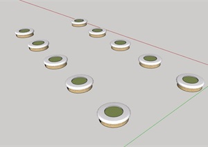 详细的圆形树池SU(草图大师)模型