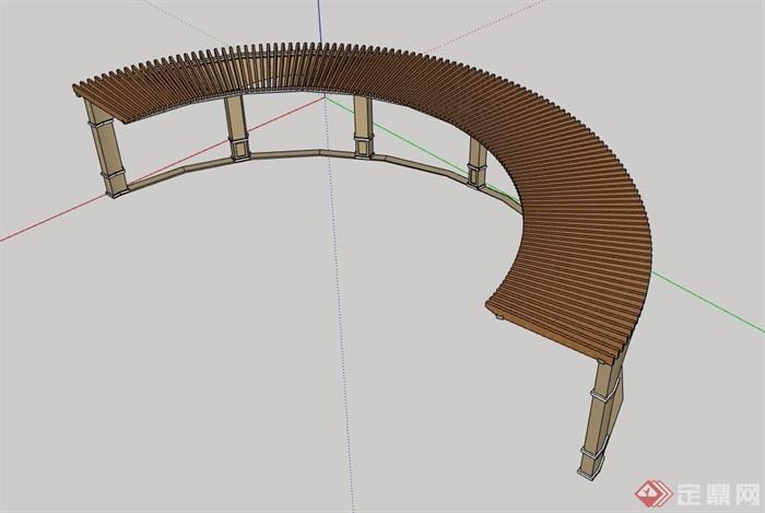 弧形欧式风格廊架素材设计su模型[原创]