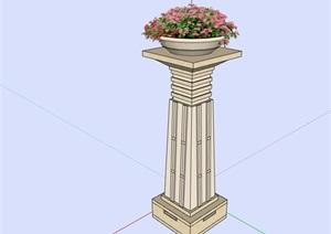 主入口灯柱设计SU(草图大师)模型