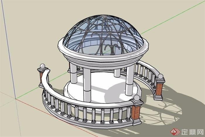 欧式详细完整的亭子素材设计su模型[原创]