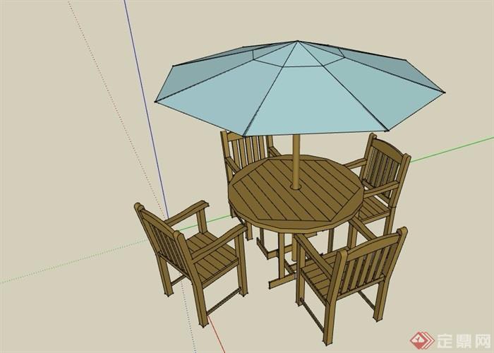 园林景观伞桌椅素材设计su模型[原创]