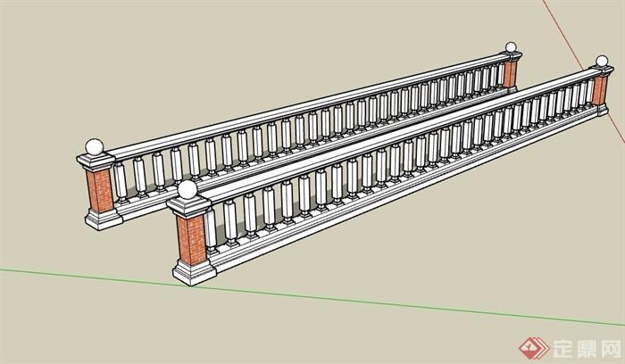 欧式风格栏杆素材设计su模型[原创]