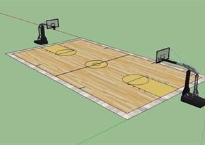 篮球运动场设计SU(草图大师)模型