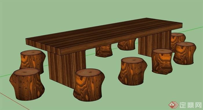 原木长桌凳组合设计su模型