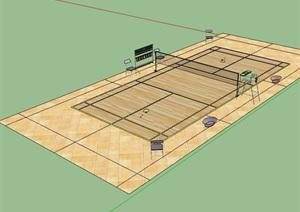 现代羽毛球场设计SU(草图大师)模型