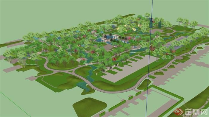 欧式风格详细完整的住宅小区景观su模型