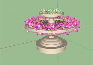 欧式详细的花钵小品素材设计SU(草图大师)模型