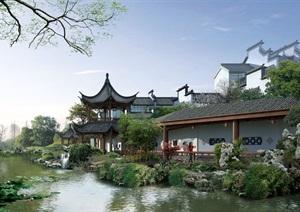 199  古典园林  古典建筑   高清PSD分层效果图