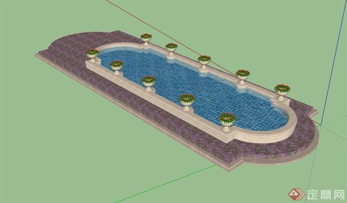 欧式风格园林景观水池设计su模型