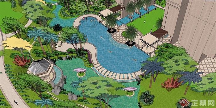 欧式风格详细小区景观完整设计su模型