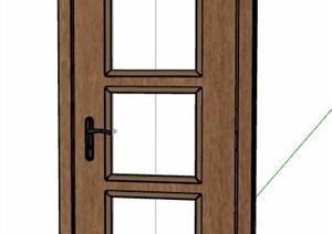 帶玻璃單開門臥室門設計SU(草圖大師)模型