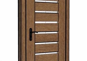 咖色木纹卧室门设计SU(草图大师)模型