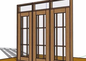 现代木框玻璃门设计SU(草图大师)模型