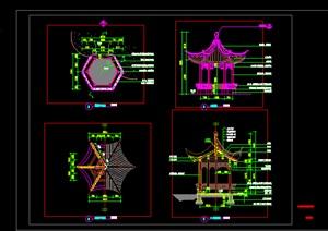 古典中式六角亭传统中式六角亭挑檐亭施工图详图