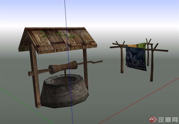 中式古井及晾衣杆街景素材su模型