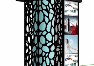 蜂窝元素广告箱灯箱设计SU(草图大师)模型