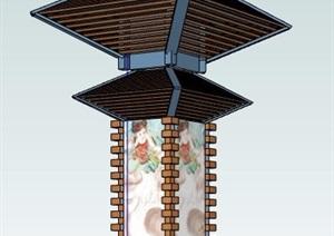 中式风格灯箱景观柱设计SU(草图大师)模型