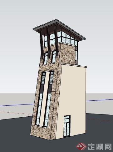 现代中式风格景观塔楼素材su模型