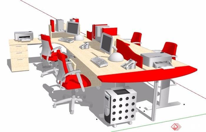 现代简约多人组合办公桌椅素材su模型