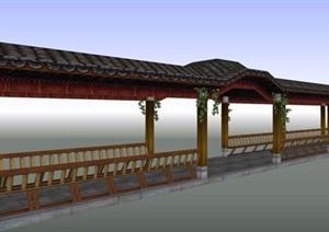 某古典中式风格景观长廊设计SU(草图大师)模型素材