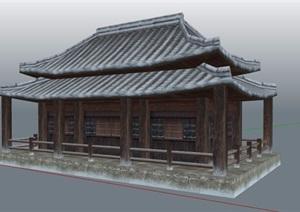 古典中式古風建筑設計SU(草圖大師)模型