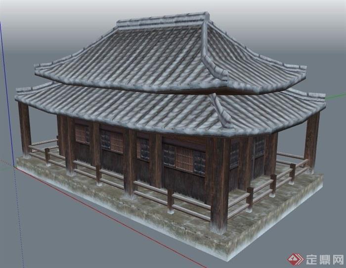 古典中式古风建筑设计su模型图片