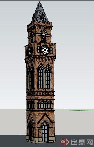 精品欧式景观塔楼素材设计su模型