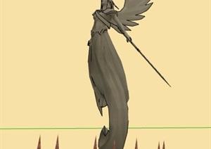 带翅膀天使景观雕塑设计SU(草图大师)模型