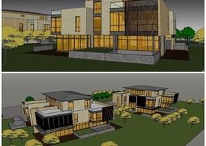 現代風格度假別墅建筑設計(帶景觀)SU模型