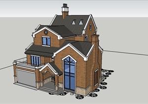精致英式風格別墅建筑設計SU(草圖大師)模型