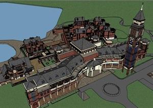 精致英式風格別墅群建筑設計SU(草圖大師)模型