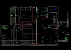 某現代室內住宅詳細空間設計cad施工圖