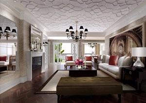 現代風格詳細的樣板房室內設計cad施工圖